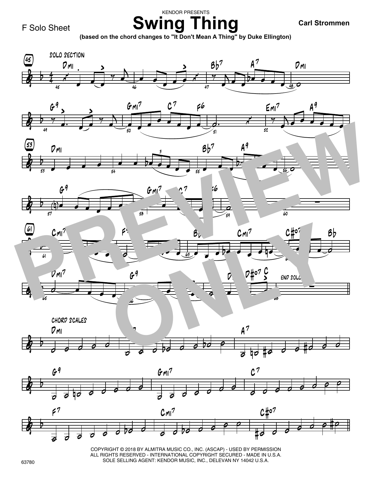 Carl Strommen Swing Thing - Solo Sheet for F Instruments sheet music preview music notes and score for Jazz Ensemble including 1 page(s)