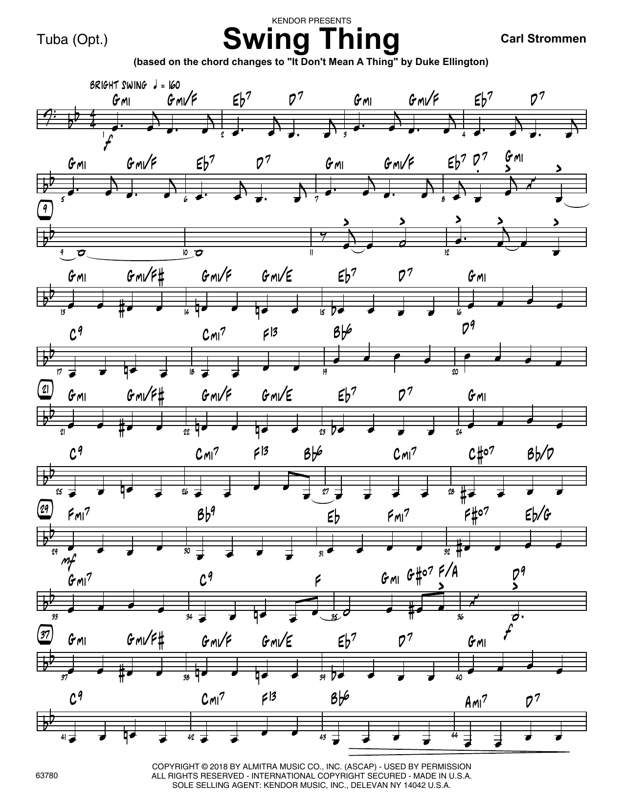 Carl Strommen Swing Thing - Tuba sheet music preview music notes and score for Jazz Ensemble including 2 page(s)
