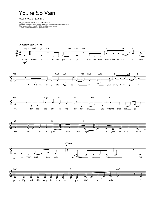 Carly Simon You're So Vain sheet music preview music notes and score for Piano, Vocal & Guitar (Right-Hand Melody) including 3 page(s)