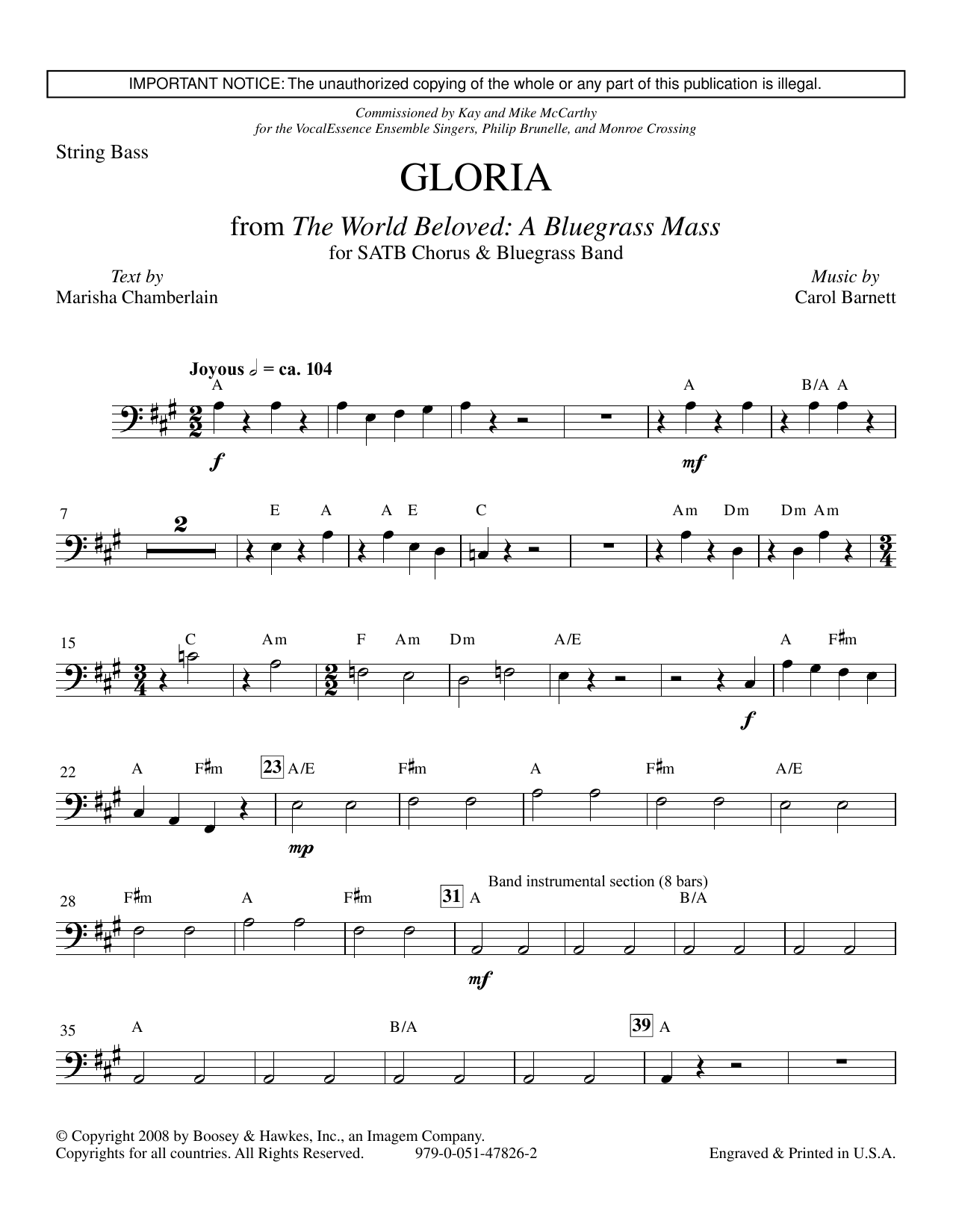 Carol Barnett Gloria (from The World Beloved: A Bluegrass Mass) - Double Bass sheet music preview music notes and score for Choir Instrumental Pak including 3 page(s)