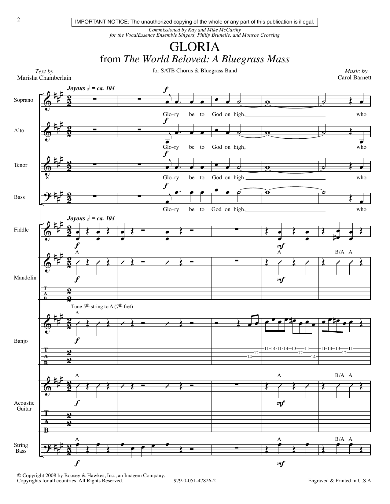 Carol Barnett Gloria (from The World Beloved: A Bluegrass Mass) - Score sheet music preview music notes and score for Choir Instrumental Pak including 23 page(s)