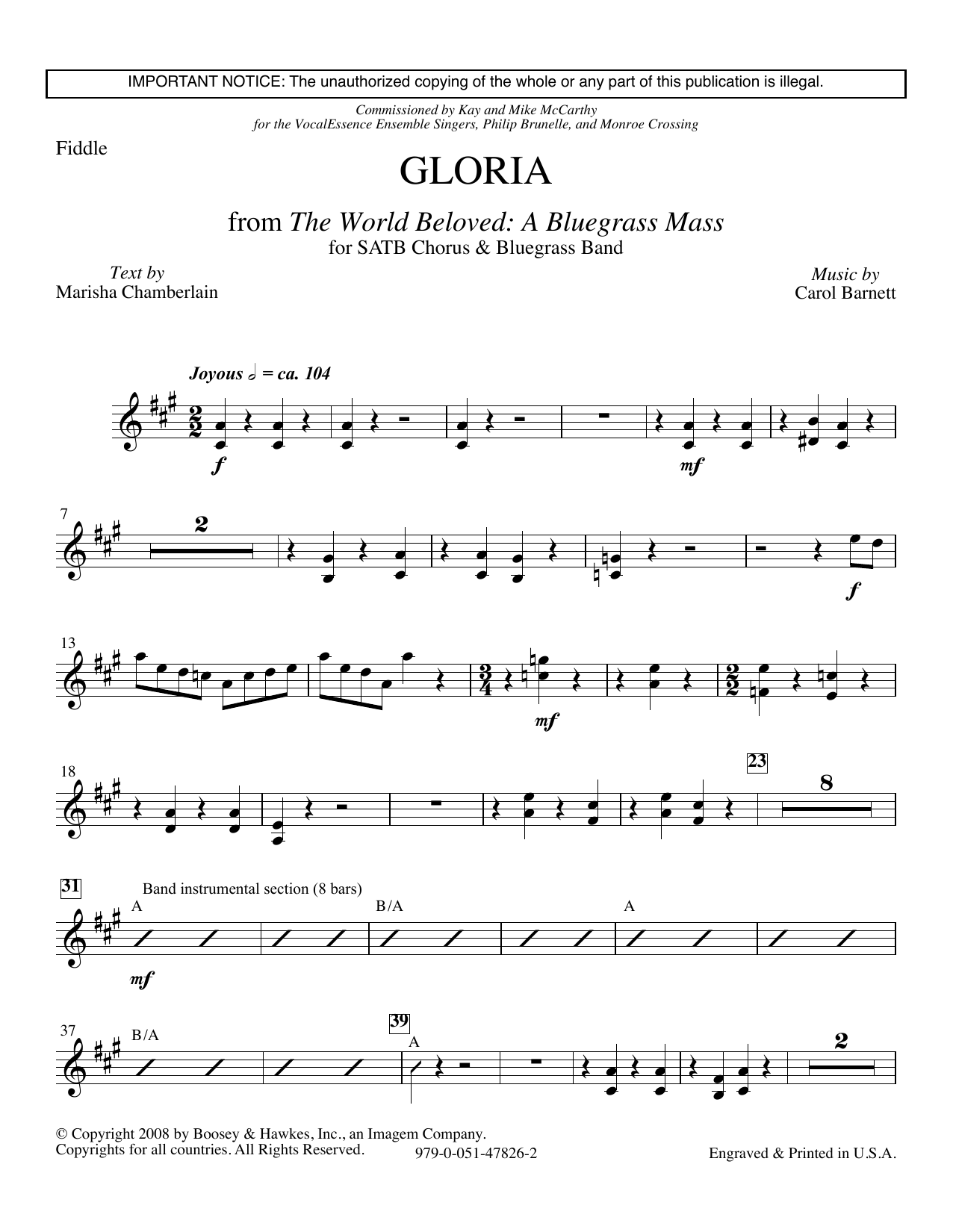 Carol Barnett Gloria (from The World Beloved: A Bluegrass Mass) - Solo Violin sheet music preview music notes and score for Choir Instrumental Pak including 3 page(s)