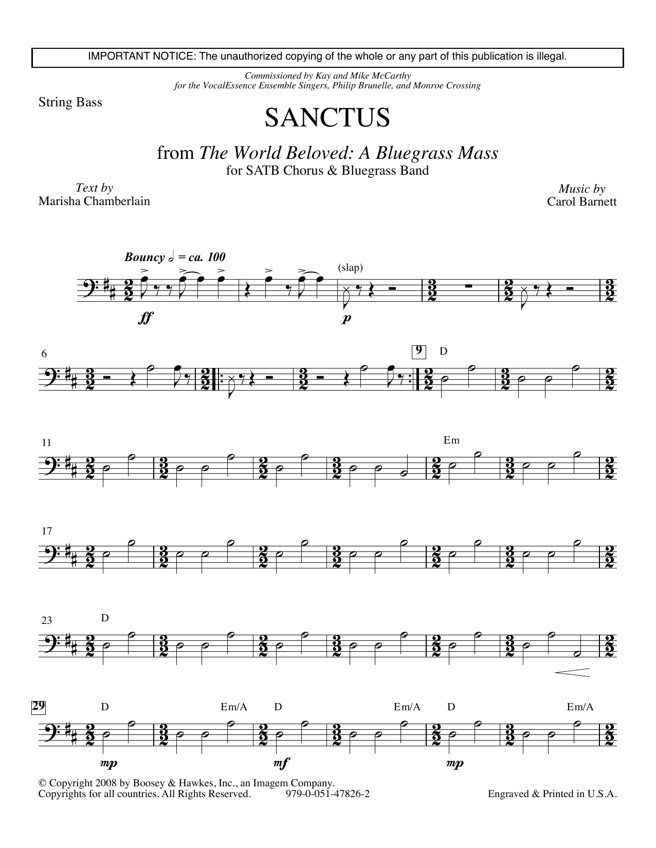 Carol Barnett Sanctus (from The World Beloved: A Bluegrass Mass) - Double Bass sheet music preview music notes and score for Choir Instrumental Pak including 3 page(s)