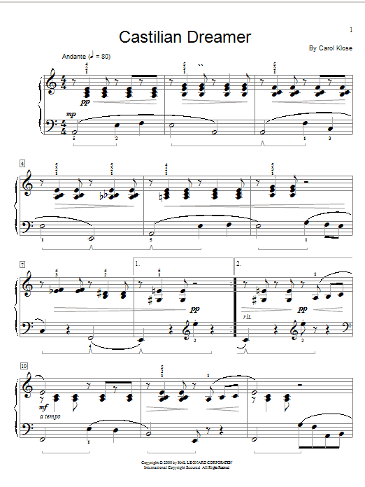 Carol Klose Castilian Dreamer sheet music preview music notes and score for Easy Piano including 3 page(s)