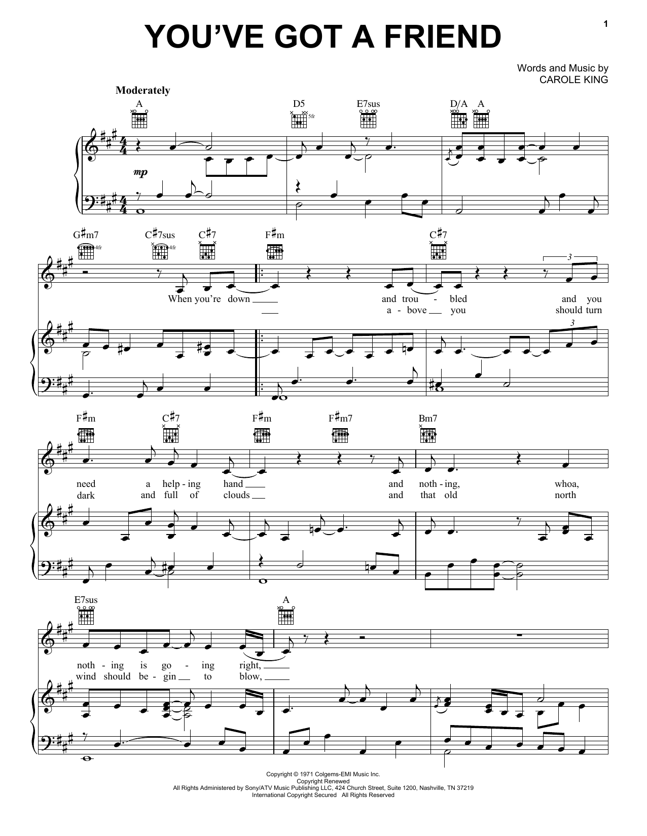 Carole King You've Got A Friend sheet music notes and chords