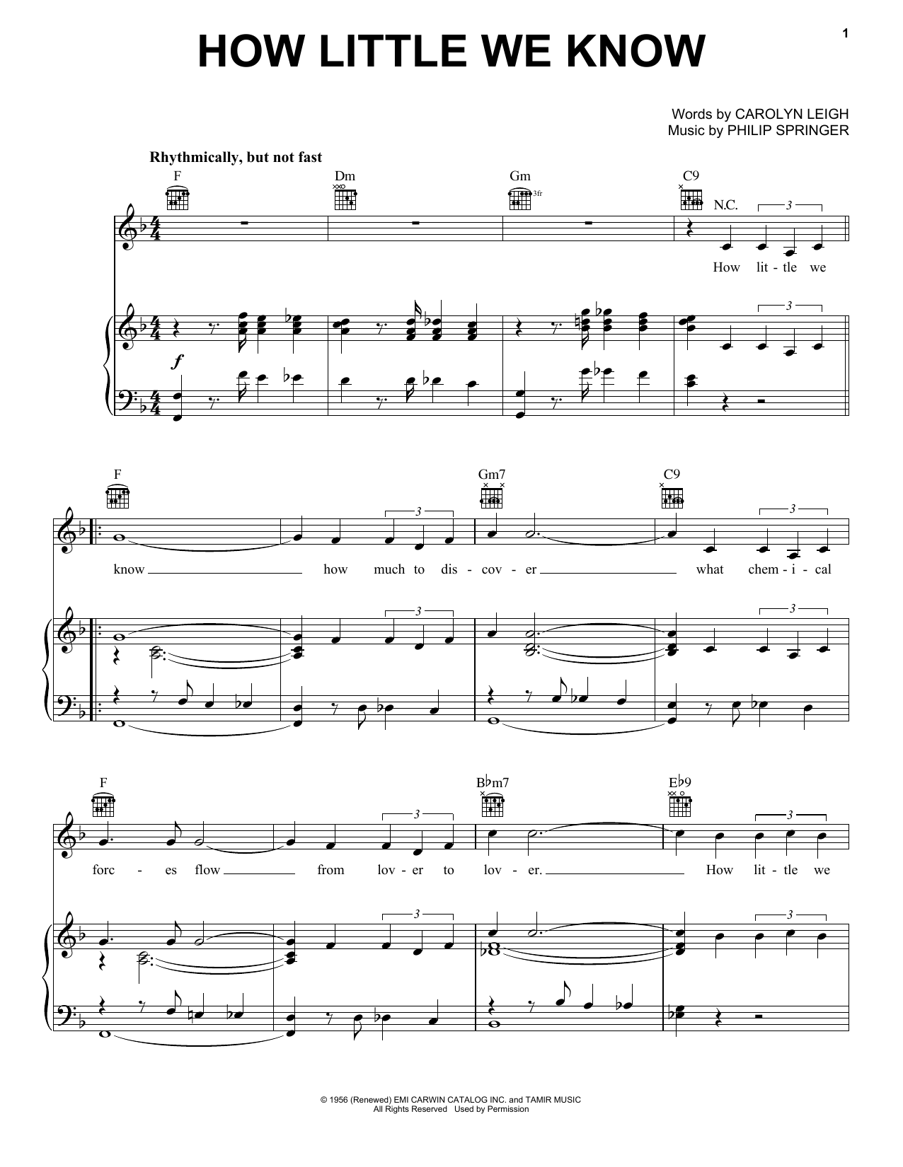 Carolyn Leigh How Little We Know sheet music preview music notes and score for Piano, Vocal & Guitar (Right-Hand Melody) including 4 page(s)