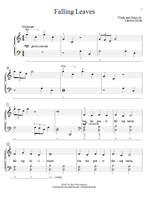 Download Carolyn Miller 'Falling Leaves' Digital Sheet Music Notes & Chords and start playing in minutes