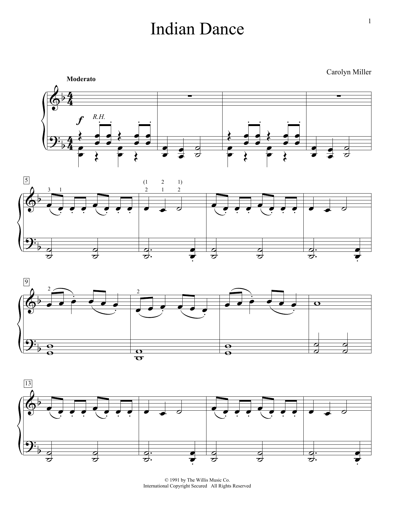 Download Carolyn Miller 'Indian Dance' Digital Sheet Music Notes & Chords and start playing in minutes