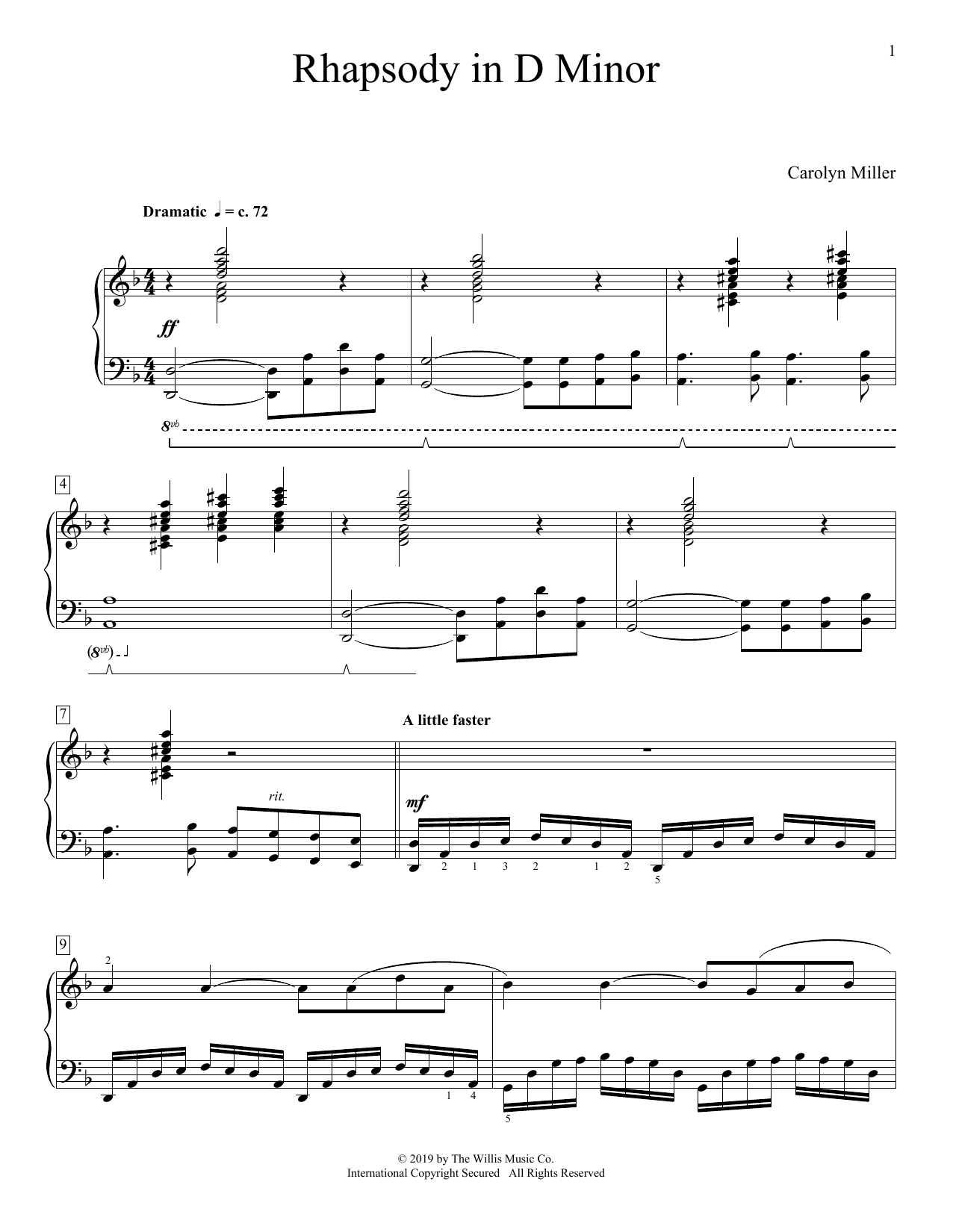 Carolyn Miller Rhapsody In D Minor sheet music preview music notes and score for Educational Piano including 6 page(s)