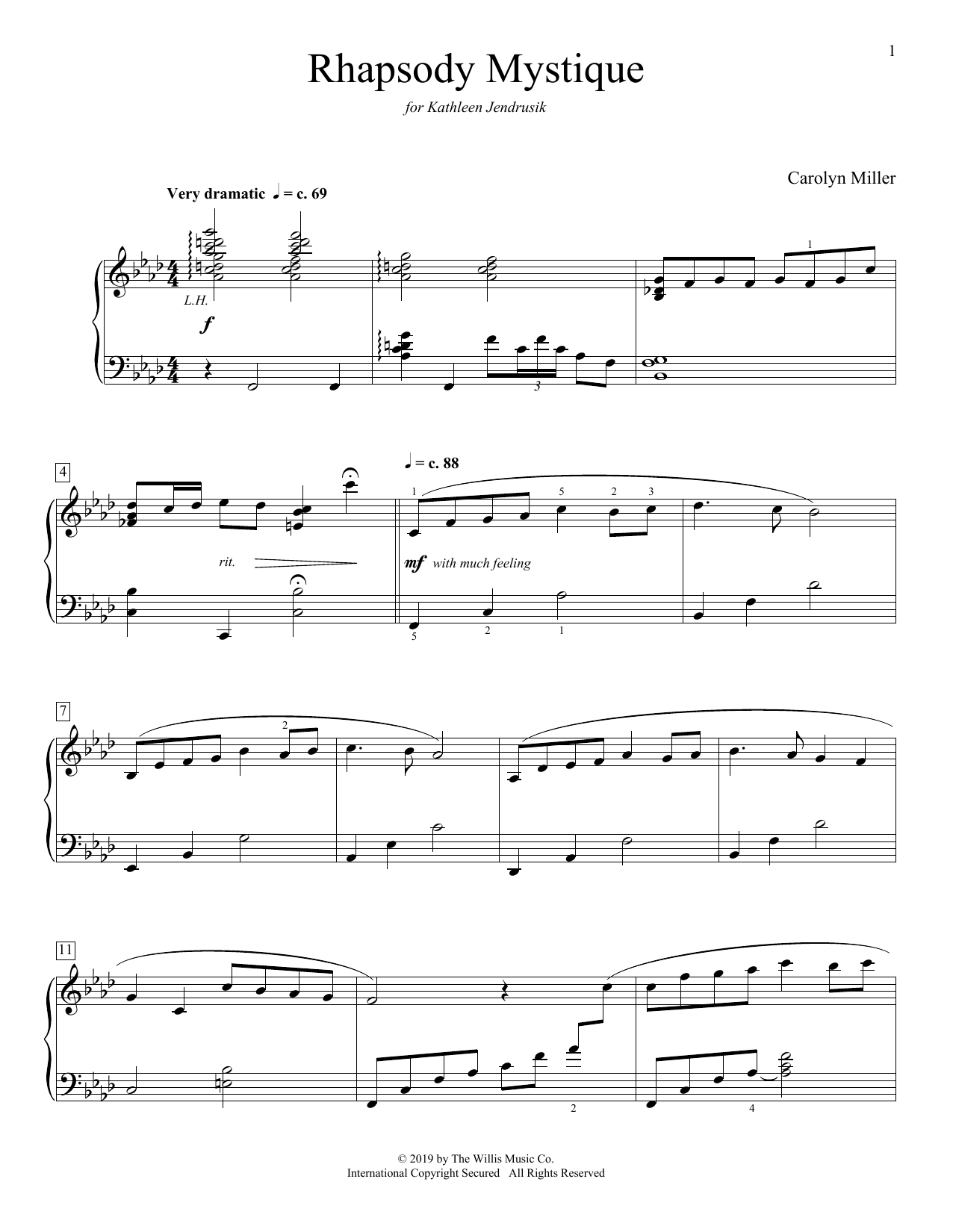 Carolyn Miller Rhapsody Mystique sheet music preview music notes and score for Educational Piano including 5 page(s)