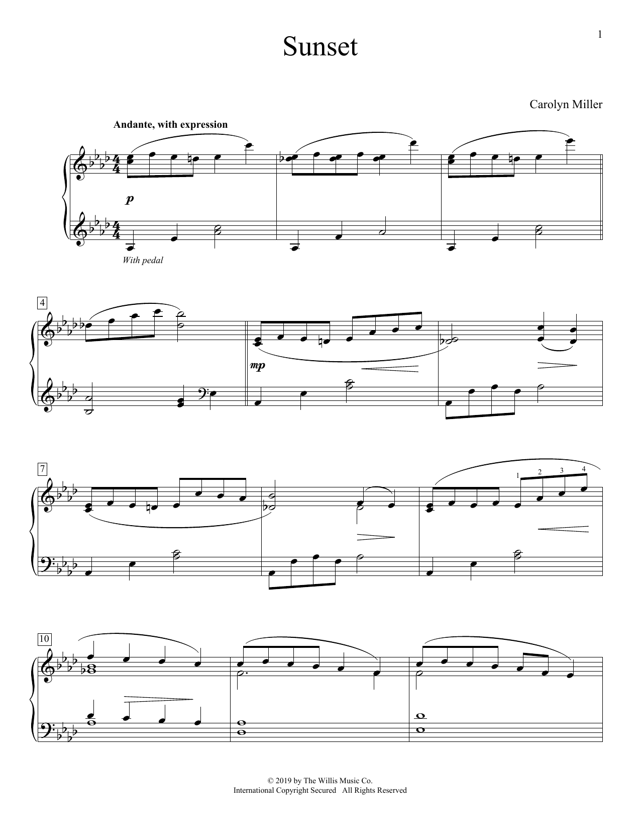 Carolyn Miller Sunset sheet music preview music notes and score for Educational Piano including 3 page(s)