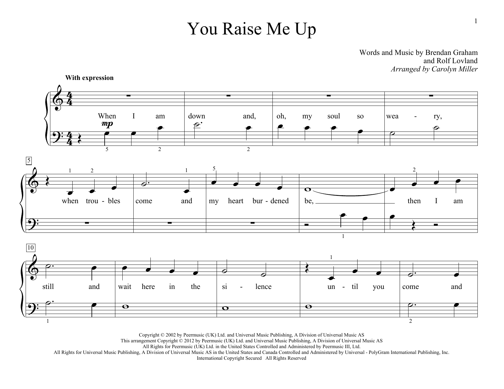 Josh Groban You Raise Me Up sheet music notes and chords