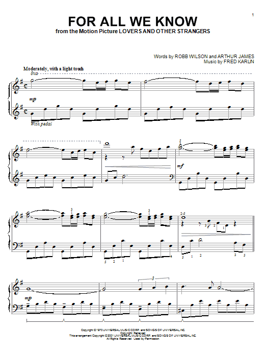 Carpenters For All We Know sheet music preview music notes and score for Piano, Vocal & Guitar (Right-Hand Melody) including 7 page(s)