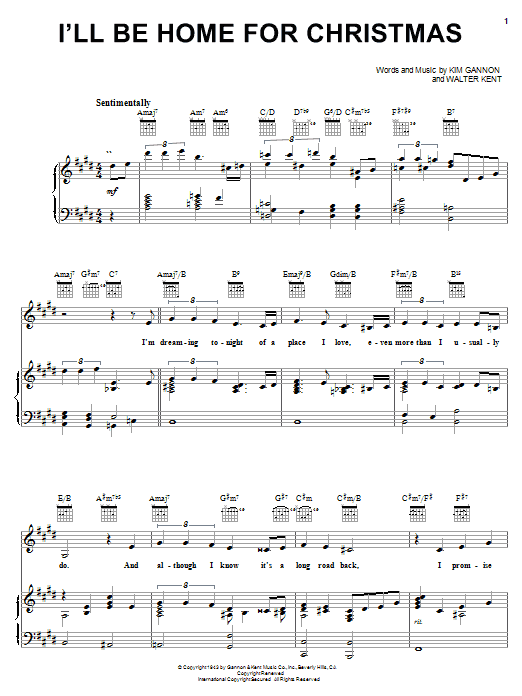 Download The Carpenters 'I'll Be Home For Christmas' Digital Sheet Music Notes & Chords and start playing in minutes