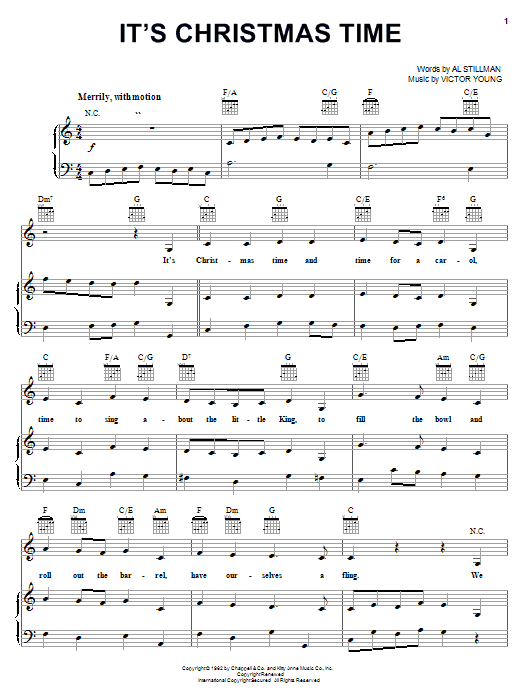 Carpenters It's Christmas Time sheet music notes and chords