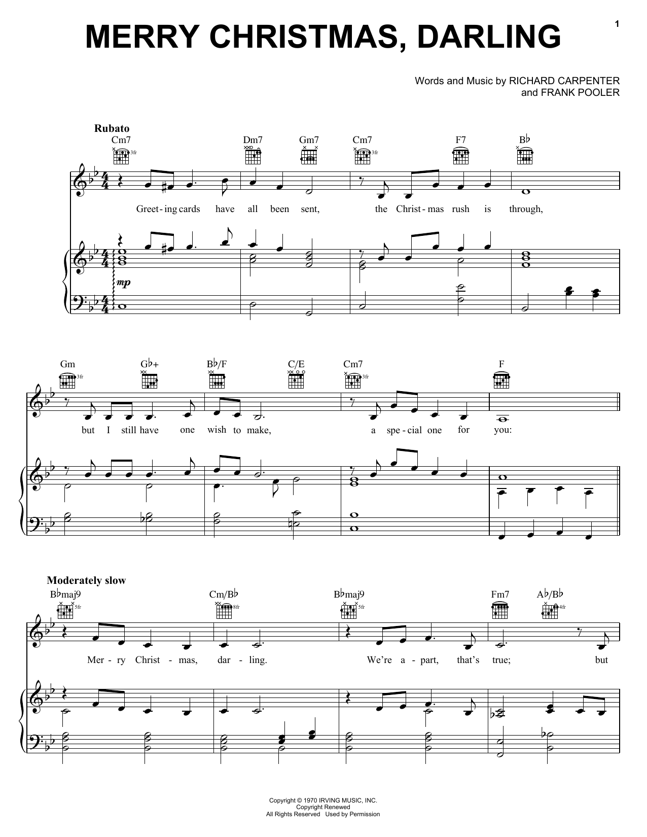 Carpenters Merry Christmas, Darling sheet music notes and chords