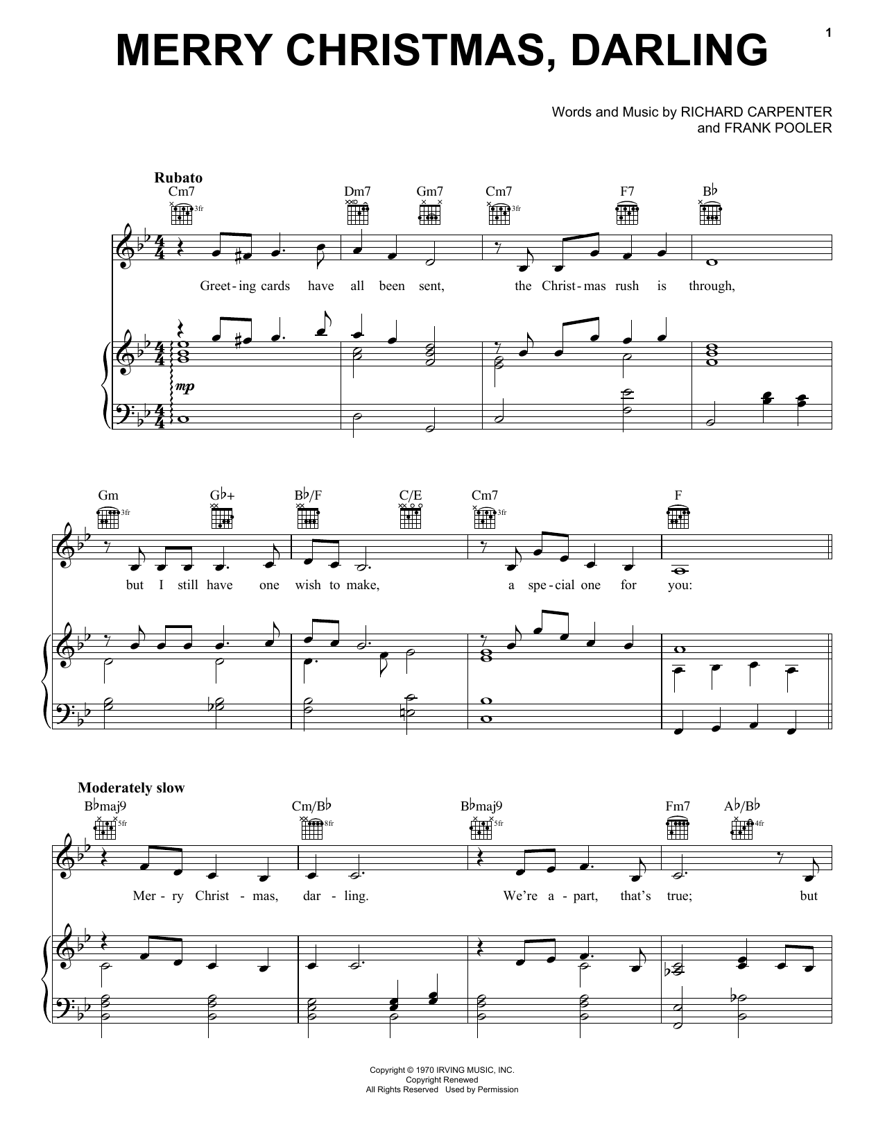 Carpenters Merry Christmas, Darling sheet music preview music notes and score for Guitar Tab including 4 page(s)