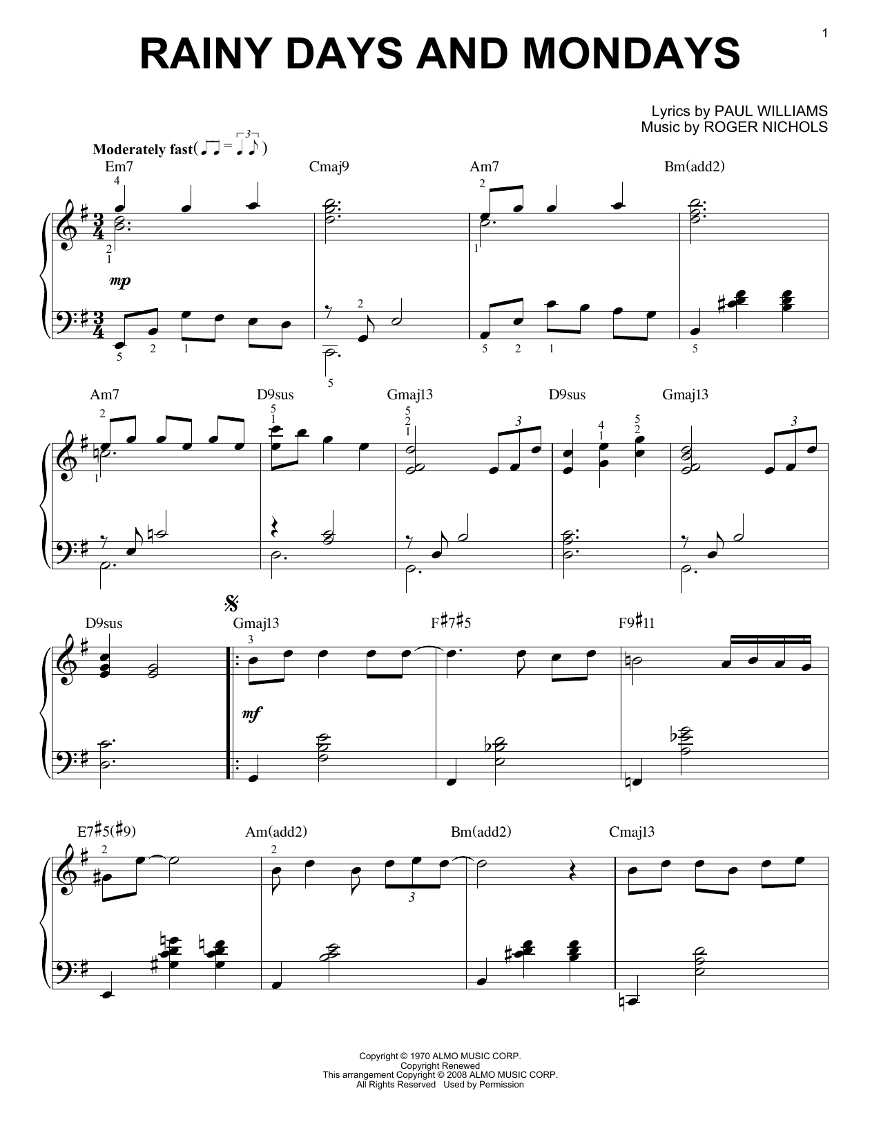 Carpenters Rainy Days And Mondays sheet music notes and chords