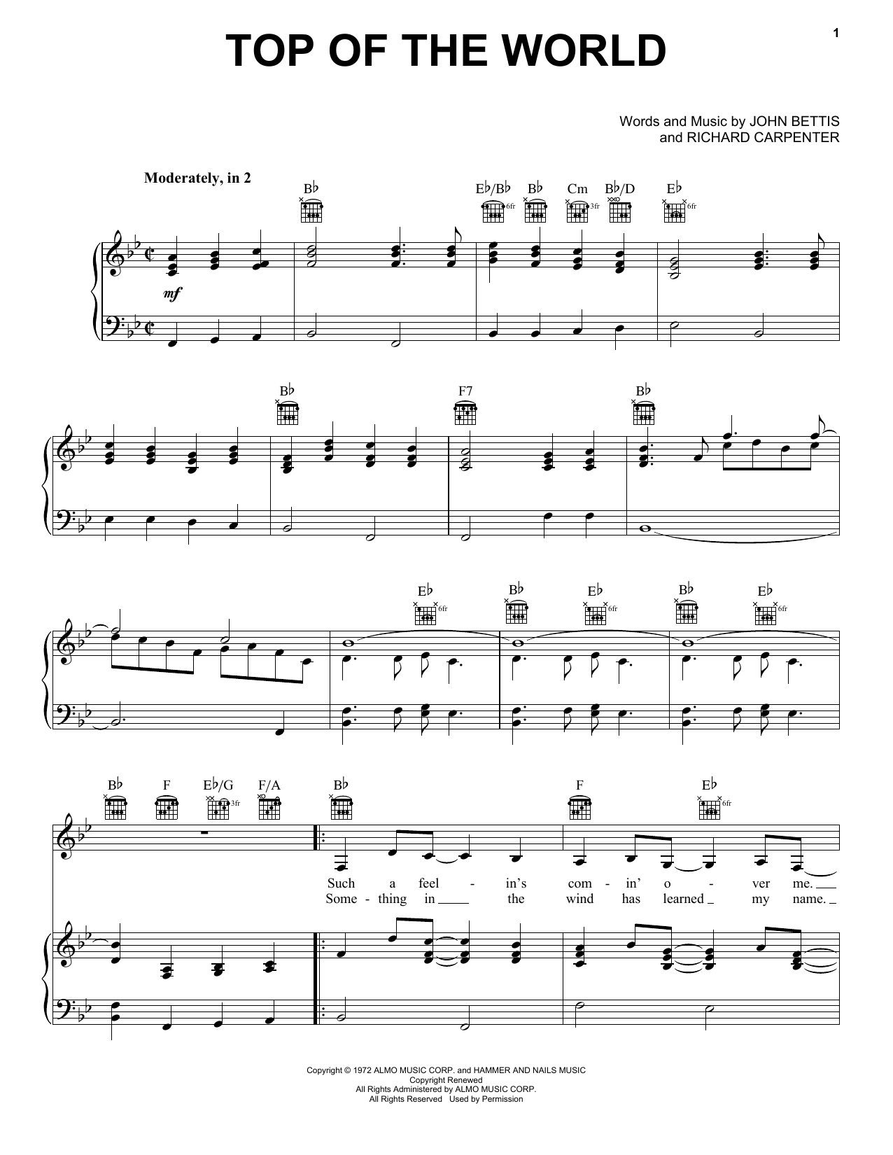 Carpenters Top Of The World sheet music notes and chords