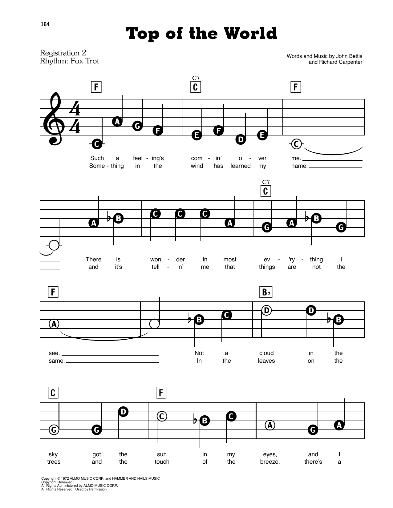 Carpenters Top Of The World sheet music preview music notes and score for E-Z Play Today including 4 page(s)
