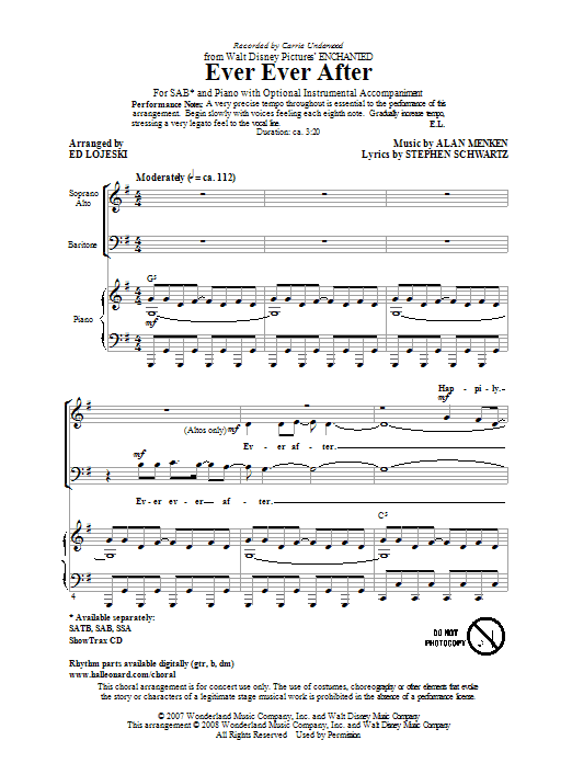 Carrie Underwood Ever Ever After (arr. Ed Lojeski) sheet music preview music notes and score for SAB including 11 page(s)
