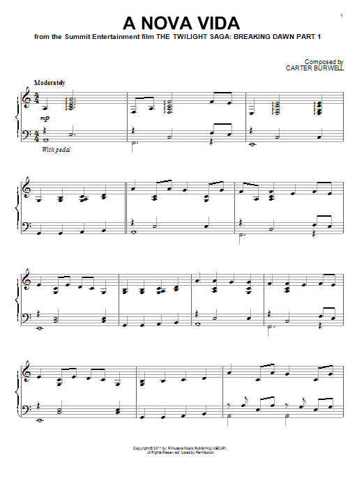 Carter Burwell A Nova Vida sheet music preview music notes and score for Piano including 6 page(s)
