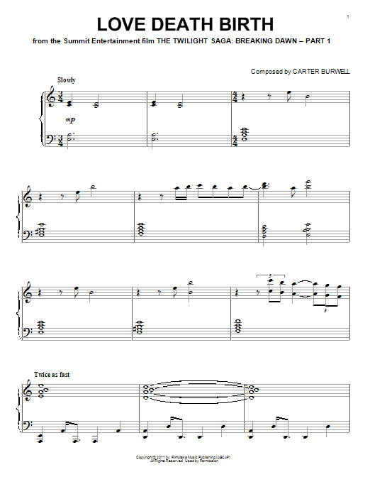 Download Carter Burwell 'Love Death Birth' Digital Sheet Music Notes & Chords and start playing in minutes