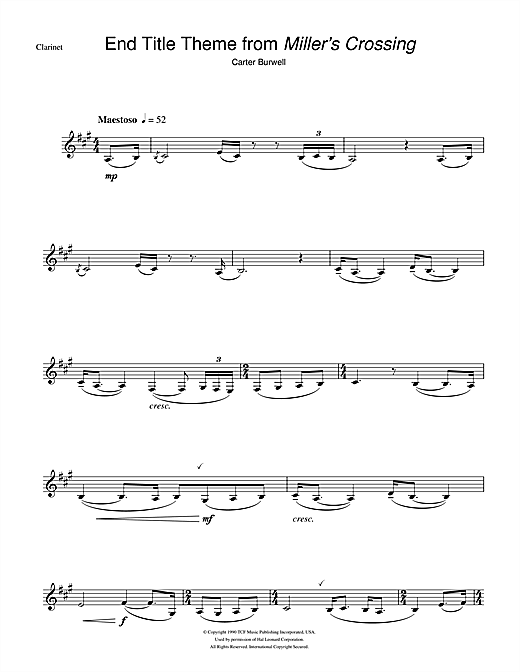 Download Carter Burwell 'Miller's Crossing (End Titles)' Digital Sheet Music Notes & Chords and start playing in minutes