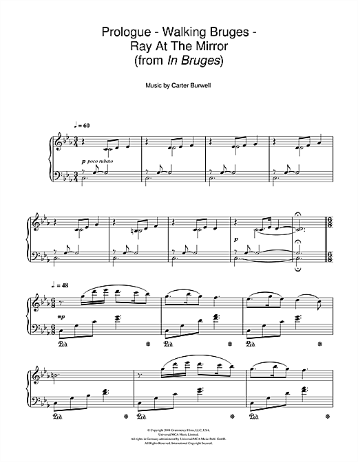 Download Carter Burwell 'Prologue - Walking Bruges - Ray At The Mirror (from In Bruges)' Digital Sheet Music Notes & Chords and start playing in minutes