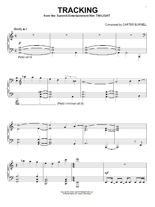 Download Carter Burwell 'Tracking' Digital Sheet Music Notes & Chords and start playing in minutes