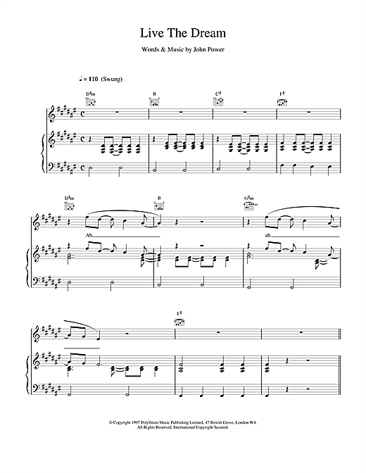 Cast Live The Dream sheet music notes and chords