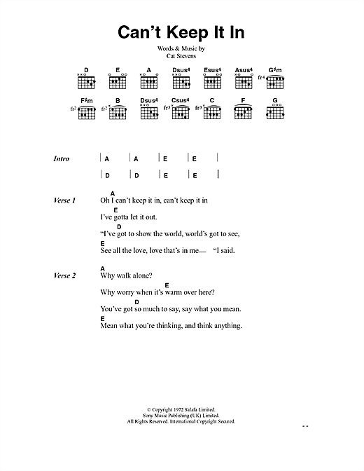 Cat Stevens Can't Keep It In sheet music notes and chords