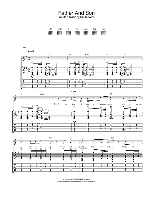 Cat Stevens Father And Son sheet music notes and chords