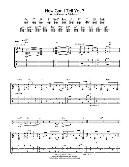 Cat Stevens How Can I Tell You? sheet music notes and chords