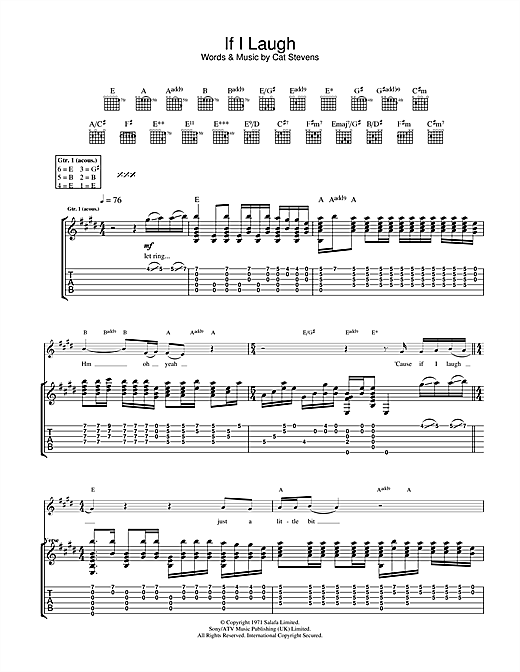 Cat Stevens If I Laugh sheet music notes and chords