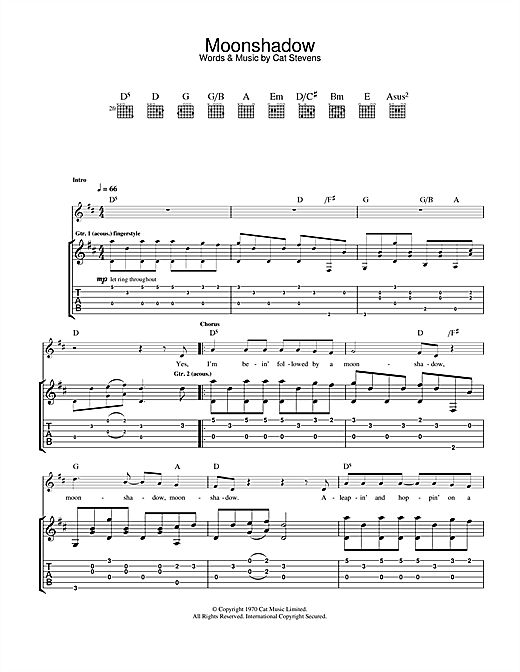 Download Cat Stevens 'Moonshadow' Digital Sheet Music Notes & Chords and start playing in minutes