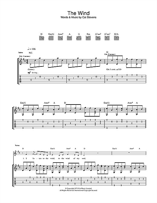 Cat Stevens The Wind sheet music notes and chords