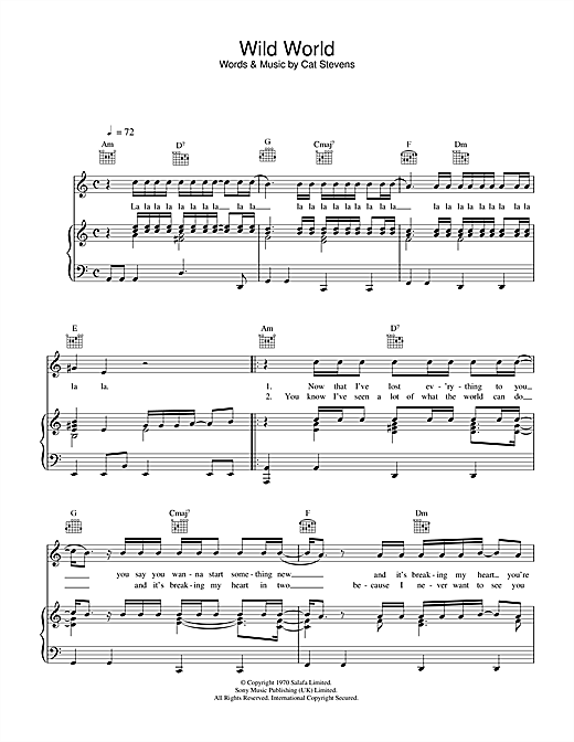 Download Cat Stevens 'Wild World' Digital Sheet Music Notes & Chords and start playing in minutes