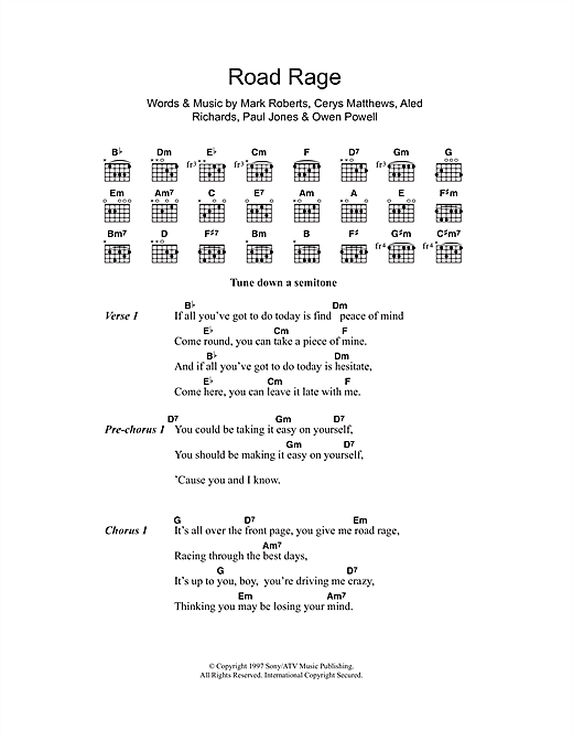 Catatonia Road Rage sheet music notes and chords