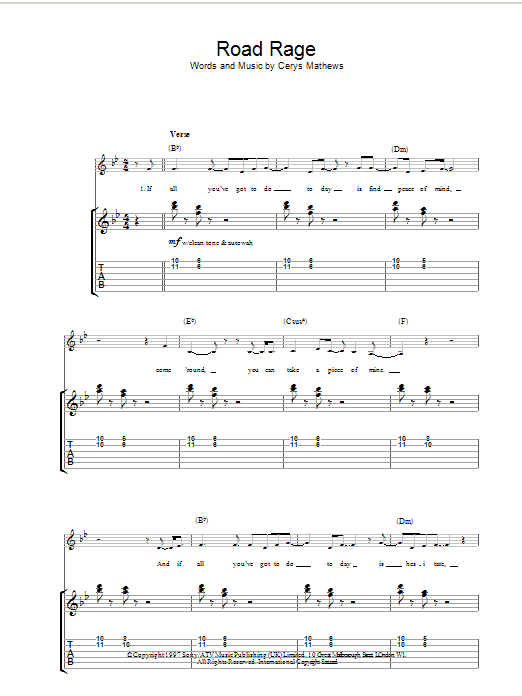 Catatonia Road Rage sheet music preview music notes and score for Piano, Vocal & Guitar including 7 page(s)