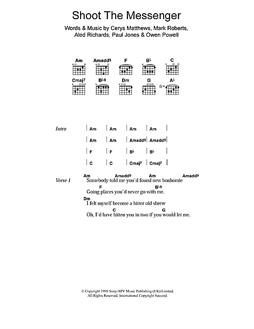 Catatonia Shoot The Messenger sheet music notes and chords