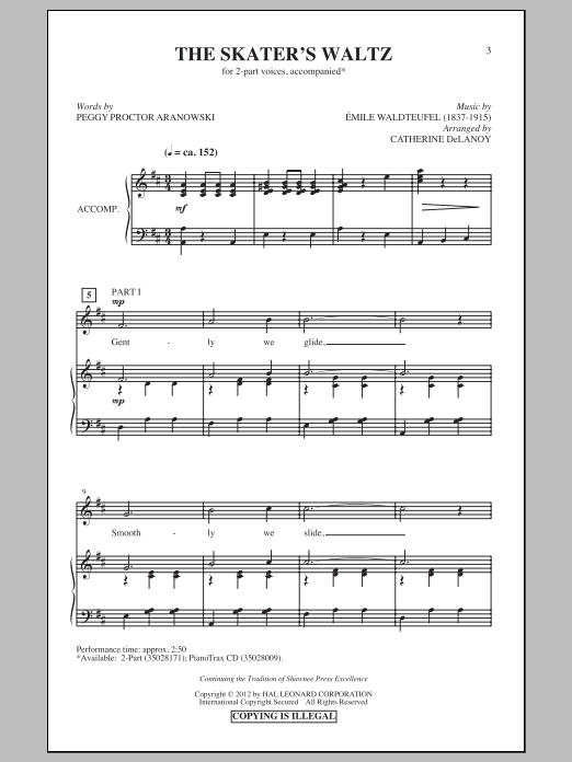 Catherine DeLanoy The Skater's Waltz sheet music preview music notes and score for 2-Part Choir including 11 page(s)