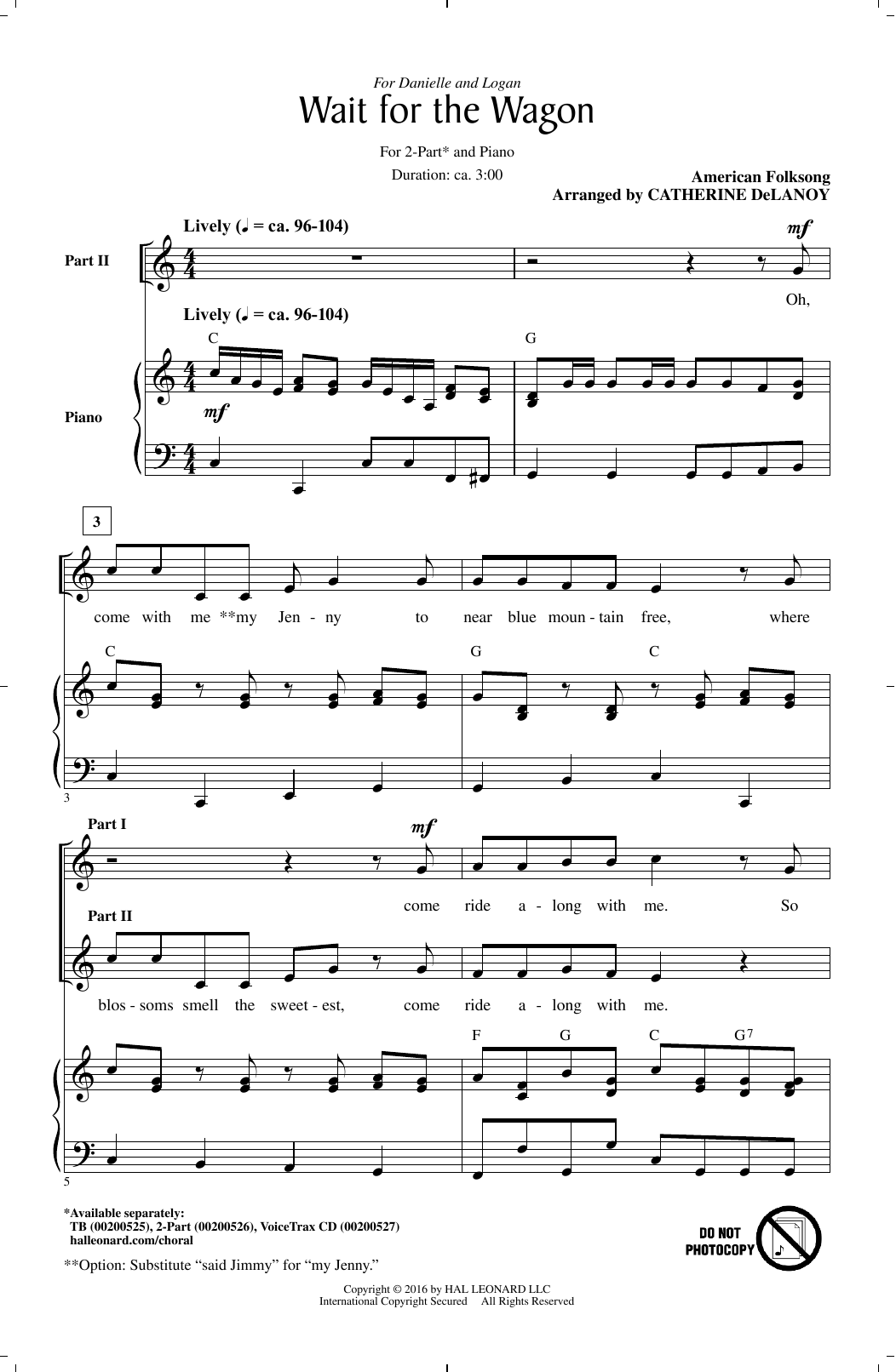 Download Catherine DeLanoy 'Wait For The Wagon' Digital Sheet Music Notes & Chords and start playing in minutes
