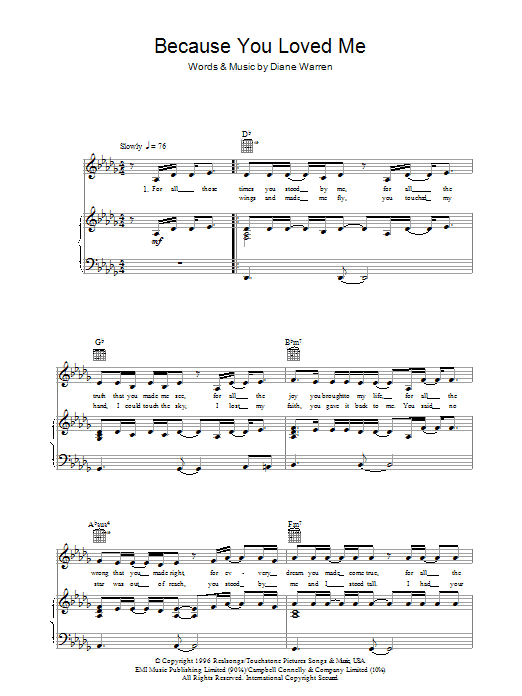 Celine Dion Because You Loved Me sheet music preview music notes and score for Piano, Vocal & Guitar (Right-Hand Melody) including 5 page(s)