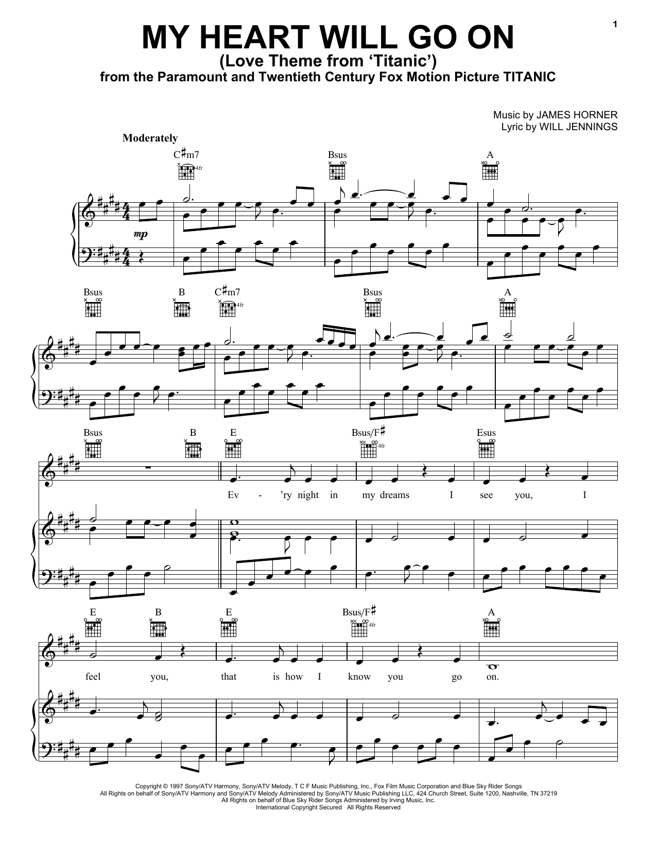 Download Celine Dion 'My Heart Will Go On (Love Theme from Titanic)' Digital Sheet Music Notes & Chords and start playing in minutes