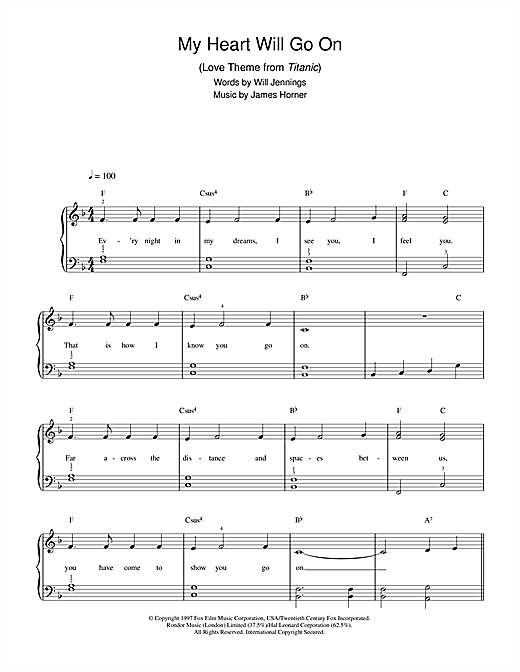 Celine Dion My Heart Will Go On (Love Theme from Titanic) sheet music notes and chords