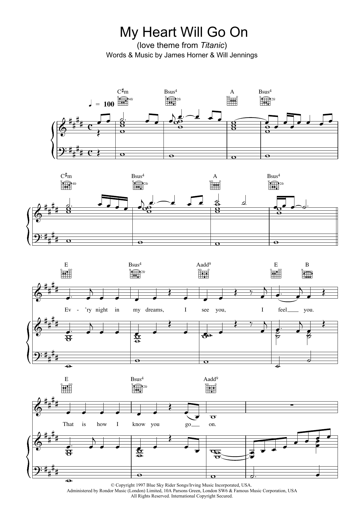 Celine Dion My Heart Will Go On (Love Theme from Titanic) sheet music preview music notes and score for Guitar Tab including 5 page(s)