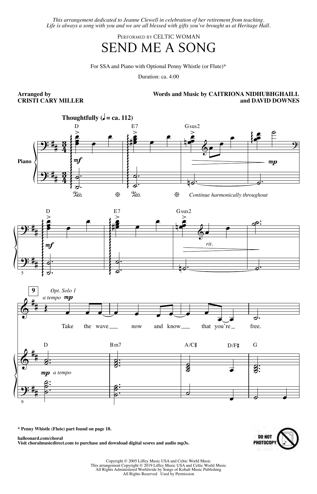 Download Celtic Woman 'Send Me A Song (arr. Cristi Cary Miller)' Digital Sheet Music Notes & Chords and start playing in minutes