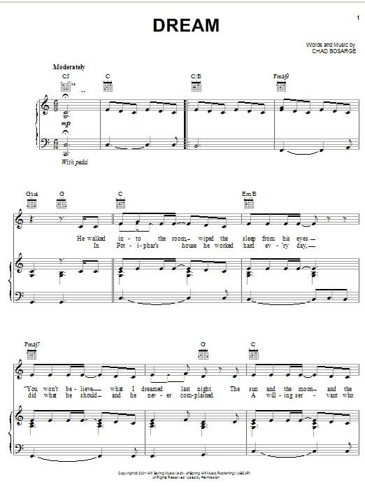 Chad Bosarge Dream sheet music preview music notes and score for Piano, Vocal & Guitar (Right-Hand Melody) including 5 page(s)