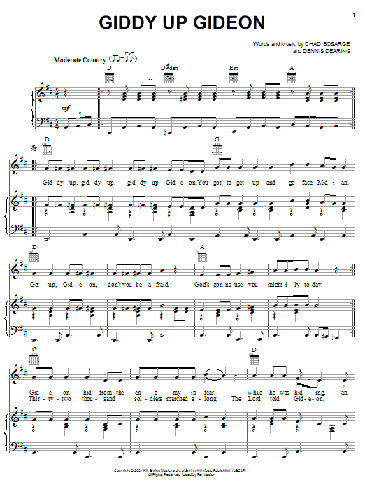 Chad Bosarge Giddy Up Gideon sheet music preview music notes and score for Piano, Vocal & Guitar (Right-Hand Melody) including 3 page(s)